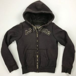Abercrombie & Fitch Full Zip Sherpa Lined Hoodie S